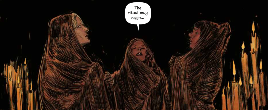 Three witches beginning a ritual in Redlands Volume 1