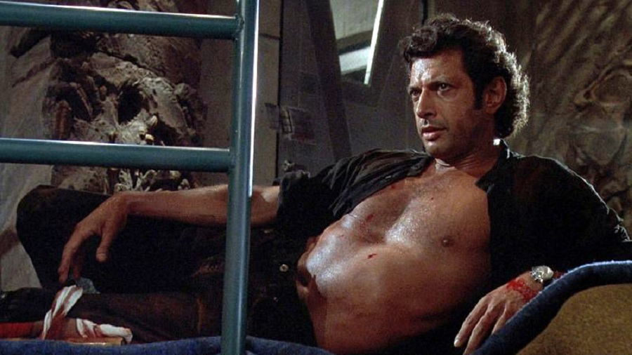 Dr. Ian Malcolm, bare-chested and reclining, Jurassic Park 1993