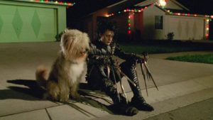 Still of Johnny Depp as Edward in Edward Scissorhands.